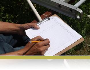 Recording data in the field.