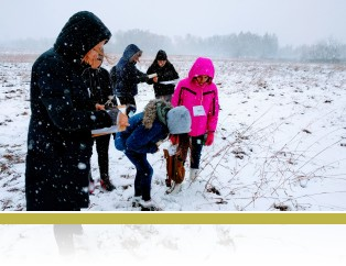 7th graders studying ecosystem components after an October blizzard